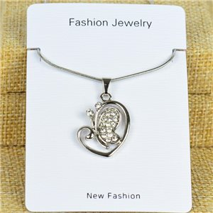 IRIS Silver Color Rhinestone Pendant Necklace Snake chain L40-45cm 78298
