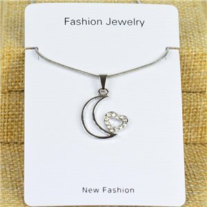 IRIS Silver Color Rhinestone Pendant Necklace Snake chain L40-45cm 78300