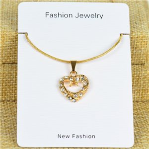 IRIS Gold Color Rhinestone Pendant Necklace Snake chain L40-45cm 78303