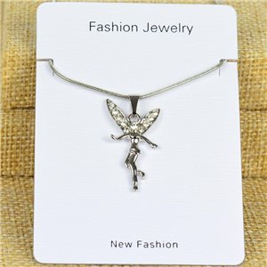 IRIS Silver Color Rhinestone Pendant Necklace Snake chain L40-45cm 78310