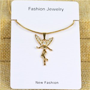 IRIS Gold Color Rhinestone Pendant Necklace Snake chain L40-45cm 78311