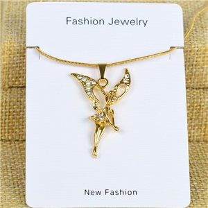 IRIS Gold Color Rhinestone Pendant Necklace Snake chain L40-45cm 78313