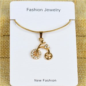 IRIS Gold Color Rhinestone Pendant Necklace Snake chain L40-45cm 78315