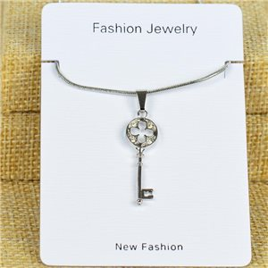 IRIS Silver Color Rhinestone Pendant Necklace Snake chain L40-45cm 78316