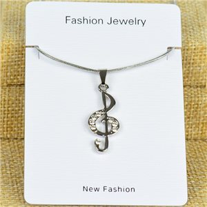 IRIS Silver Color Rhinestone Pendant Necklace Snake chain L40-45cm 78318