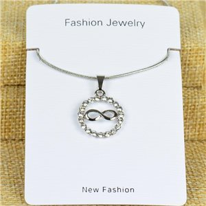 IRIS Silver Color Rhinestone Pendant Necklace Snake chain L40-45cm 78322