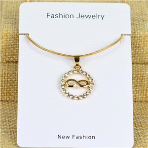 IRIS Gold Color Rhinestone Pendant Necklace Snake chain L40-45cm 78323