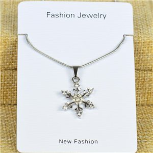 IRIS Silver Color Rhinestone Pendant Necklace Snake chain L40-45cm 78326