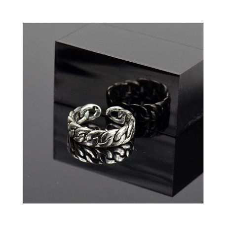 Adjustable ring t47 to t57 in aged silver metal Limited Edition Collection 78380