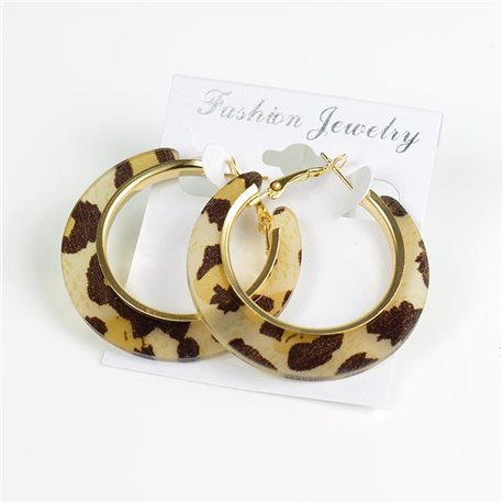 1p Leopard Hoop Earrings 45mm flap closure New Collection 78201