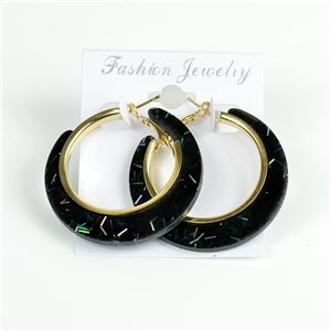 1p Boucles Oreilles Paillettés Créoles 45mm fermeture à clapet New Collection 78203