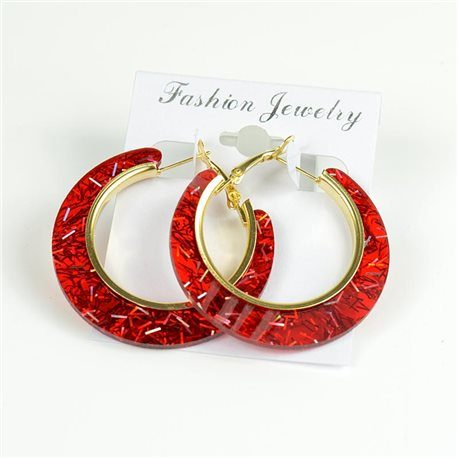 1p Hoop Earrings Glitter 45mm flap closure New Collection 78205