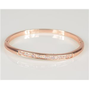 Bangle with metal clip Rose Gold color Zircon diamond cut D60mm Chic Collection 78436
