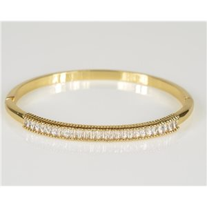 Bangle with metal clip color Yellow Gold Zircon diamond cut D60mm Chic Collection 78438