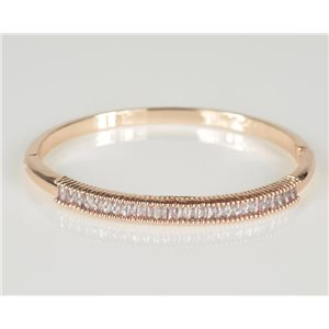 Bracelet Jonc à clip métal couleur Or Rose Zircon coupe diamant D60mm Collection Chic 78439