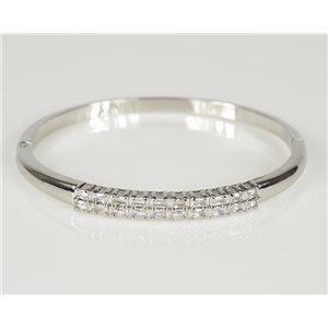 Bangle with metal clip color White Gold Zircon diamond cut D60mm Chic Collection 78440