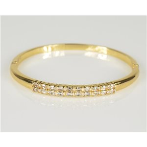 Bangle with metal clip color Yellow Gold Zircon diamond cut D60mm Chic Collection 78441