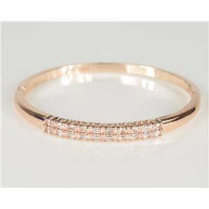 Bracelet Jonc à clip métal couleur Or Rose Zircon coupe diamant D60mm Collection Chic 78442