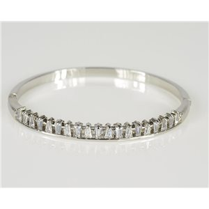 Bangle with metal clip color White Gold Zircon diamond cut D60mm Chic Collection 78443