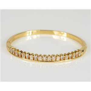 Bracelet Jonc à clip métal couleur Or Jaune Zircon coupe diamant D60mm Collection Chic 78444
