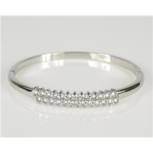 Bracelet Jonc à clip métal couleur Or Blanc Zircon coupe diamant D60mm Collection Chic 78446