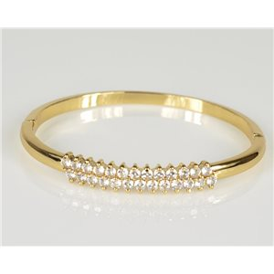 Bracelet Jonc à clip métal couleur Or Jaune Zircon coupe diamant D60mm Collection Chic 78447