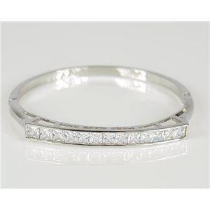 Bangle with metal clip color White Gold Zircon diamond cut D60mm Chic Collection 78449
