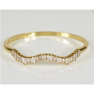 Bracelet Jonc à clip métal couleur Or Jaune Zircon coupe diamant D60mm Collection Chic 78453