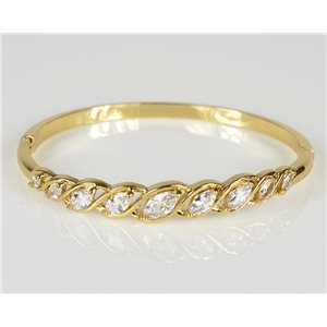 Bangle with metal clip color Yellow Gold Zircon diamond cut D60mm Chic Collection 78459