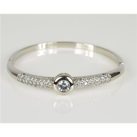 Bangle with metal clip color White Gold Zircon diamond cut D60mm Chic Collection 78461