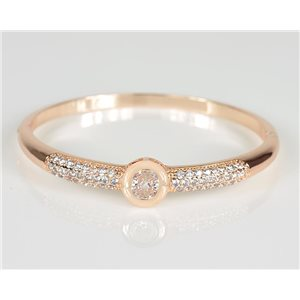 Bangle with metal clip in Rose Gold color Zircon diamond cut D60mm Chic Collection 78463