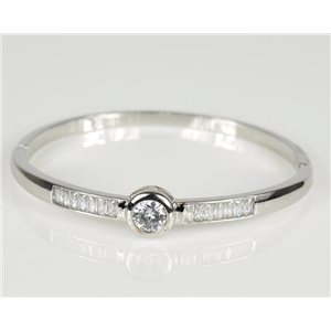 Bangle with metal clip color White Gold Zircon diamond cut D60mm Chic Collection 78464
