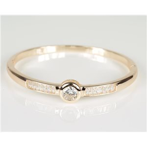 Bangle with metal clip Rose Gold color Zircon diamond cut D60mm Chic Collection 78466