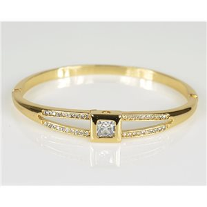 Bangle with metal clip color Yellow Gold Zircon diamond cut D60mm Chic Collection 78468