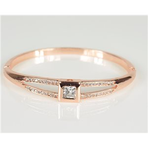Bangle with metal clip in Rose Gold color Zircon diamond cut D60mm Chic Collection 78469