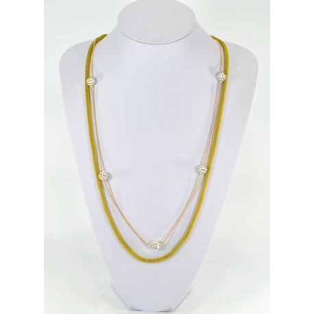 Collier Sautoir New Color orné de Boules Pierre Strass 57952