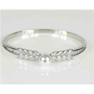 Bangle with metal clip color White Gold Zircon diamond cut D60mm Chic Collection 78473