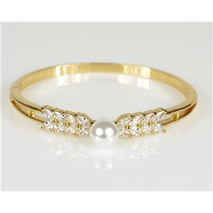 Bracelet Jonc à clip métal couleur Or Jaune Zircon coupe diamant D60mm Collection Chic 78474
