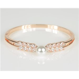 Bracelet Jonc à clip métal couleur Or Rose Zircon coupe diamant D60mm Collection Chic 78475