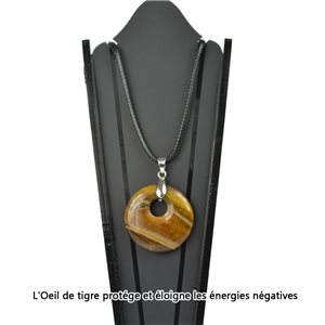Donuts Necklace Pendant 30mm Tiger Eye Stone on waxed cord 78332