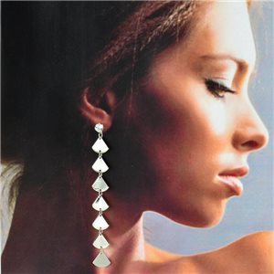 1p Silver Earrings with hanging studs 10cm MILEVA Fashion Chic Collection 78223