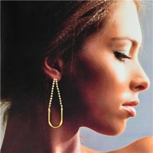 1p Gold Earrings with Hanging studs 6cm MILEVA Collection Chic Fashion 78230