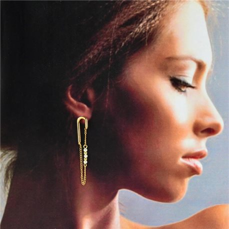 1p Gold Earrings with hanging studs 5cm MILEVA Fashion Chic Collection 78232