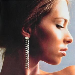 1p Silver Earrings with Hanging studs 8cm MILEVA Fashion Chic Collection 78235
