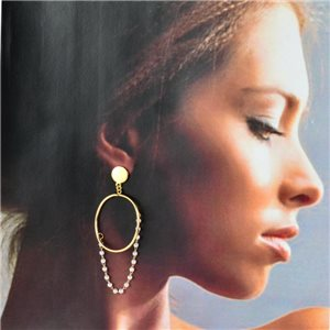 1p Gold Earrings with Hanging studs 7cm MILEVA Fashion Chic Collection 78238