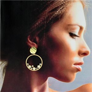1p Gold Earrings with hanging studs 4cm MILEVA Collection Chic Fashion 78251