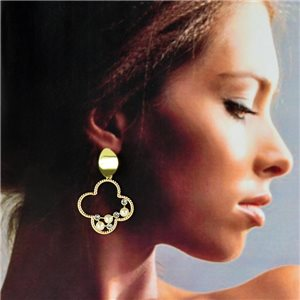 1p Gold Earrings with hanging studs 4cm MILEVA Collection Chic Fashion 78254