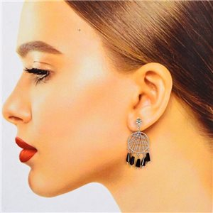 1p Filigree Stud Earrings Zircon and Tassels New Collection 78375