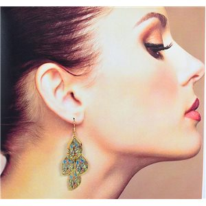 1p Filigree Earrings with golden hook New Ethnic Collection 78362