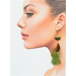 1p Drop earrings with hooks 14cm gold metal New Feathers Collection 78399